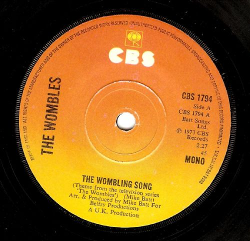 THE WOMBLES The Wombling Song Vinyl Record 7 Inch CBS 1973